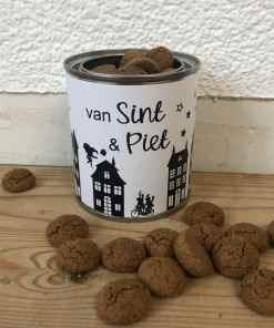 Cadeau blik - Sinterklaas - Van Sint en Piet - Kado blik - Gepersonaliseerd cadeau - Snoep blik gepersonaliseerd - Trakteren