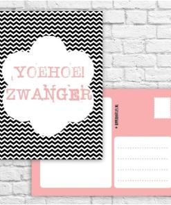 Kaartje - Hoera zwanger || Ansichtkaart - voeg een leuk kaartje bij je bestelling als je voor iemand anders een cadeau doet! - Bella Kids