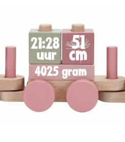 Little Dutch| Blokkentrein Wild Flowers met naam - Little Dutch - Houten Speelgoed - Kraam cadeau - Naam cadeau