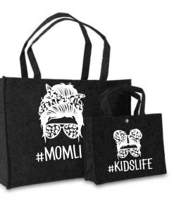 Vilten tas|Mom life| Kidsife| Stoer - Boodschappen tas - Vilten tas - Gepersonaliseerd cadeau - Twinning - Tassen