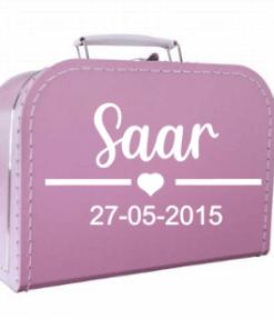 Kinder koffertje - Hart met naam en geboorte datum
