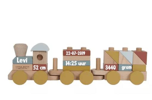 Little Dutch - Blokkentrein Pure & Nature - Gepersonaliseerd met geboorte gegevens - kraam cadeau - geboorte cadeau