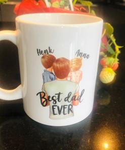Koffie thee mok - Best dad ever - Vaderdag cadeau - Cadeau voor papa - papa cadeau - Gepersonaliseerd koffie mok