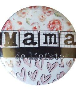 Cadeau set - Spiegeltje - Kaart - Button spiegel met tekst ''Mama'' Super leuk cadeau setje om te geven aan mama , spiegeltje is 56mm Verpakt in een leuk doorzichtig zakje