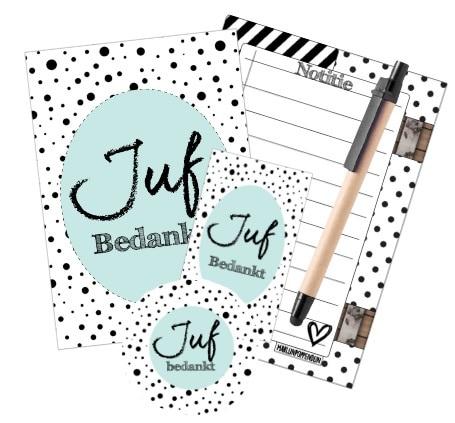 Cadeau set - Juf setje Licht blauw met - Notitieblokje - Kaart + Pen Super leuk cadeau setje om te geven aan de juf, Notitie boekje - Kaart - Pen en leuke sticker Verpakt in een leuk doorzichtig zakje