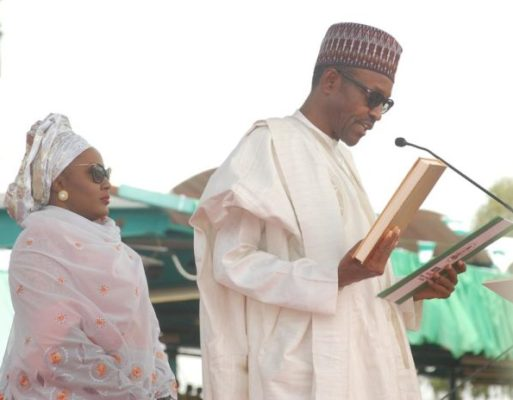 PIC.2. PRESIDENT MUHAMMADU BUHARI TAKING OATH OF OFFICE IN ABUJA   ON FRIDAY (29/5/15).WITH HIM IS THE WIFE, AISHA. 2815/29/5/2015/JAU/CH/NAN
