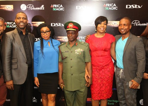 L-R: Prince Tonye Princewill, Executive Producer; Wangi Mba-Uzoukwu, Regional Director, M-net West Africa; Major General Rogers Ibe Nicholas, Chief of Civil-Military Affairs, Army HQ.; Rita Dominic, Nollywood Actress and Adonijah Owiriwa, Executive Producer