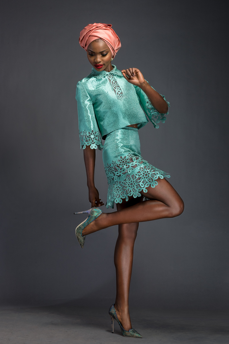 TALLULAH. Aquamarine Aso-oke top and skirt patterned with Komole Kandids Fractal motif.