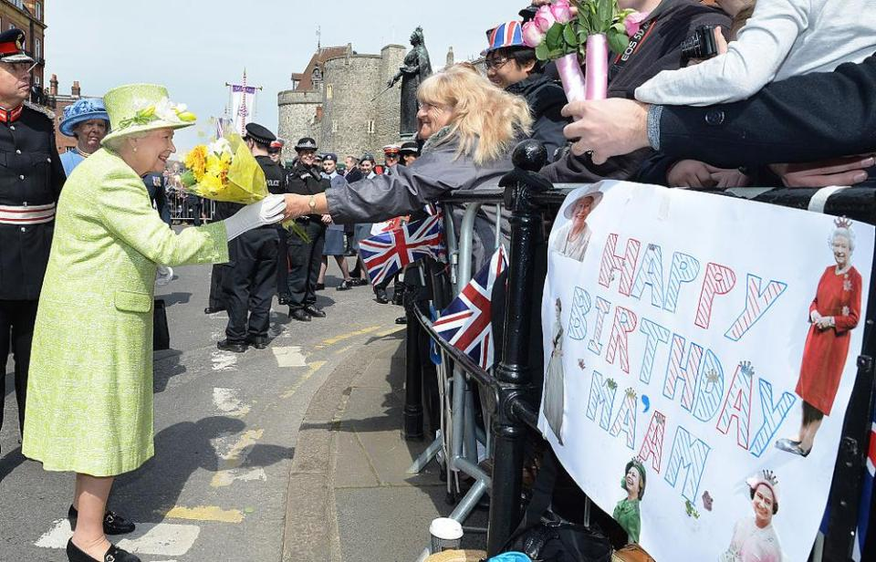 WINDSOR, ENGLAND - APRIL 21: Queen Elizabeth II meets the public on her 90th Birthday Walkabout on April 21, 2016 in Windsor, England. Today is Queen Elizabeth II's 90th Birthday. The Queen and Duke of Edinburgh will be carrying out engagements in Windsor. (Photo by John Stillwell - WPA Pool/Getty Images)