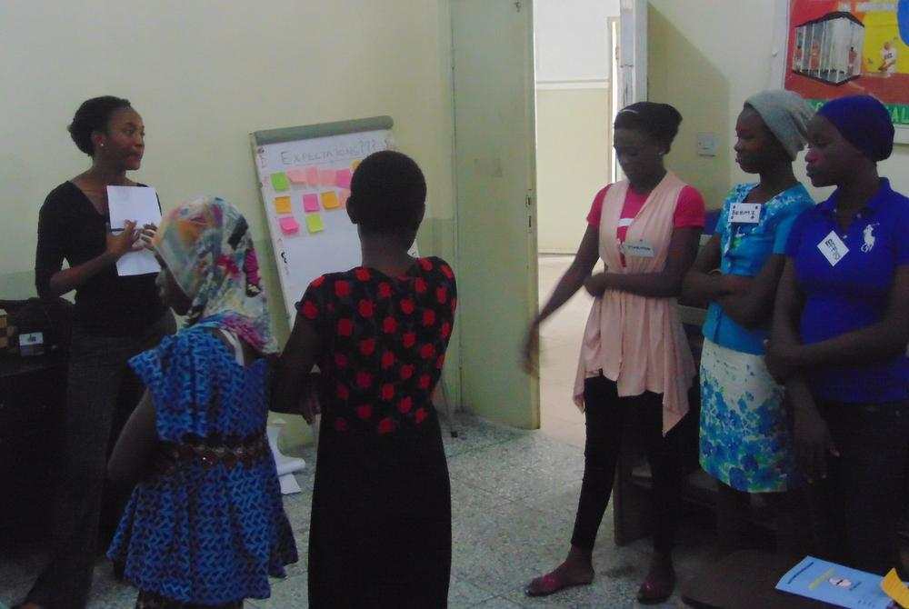Nneoma Speaking to teenage girls during her MHM Research in Nigeria. Credit: Virginia Tech News