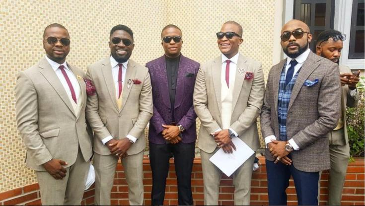 Groomsmen with Banky W and Tunde Demuren