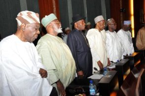 Image result for pictures of obasanjo, goodluck jonathan, Yakubu Gowon and Buhari
