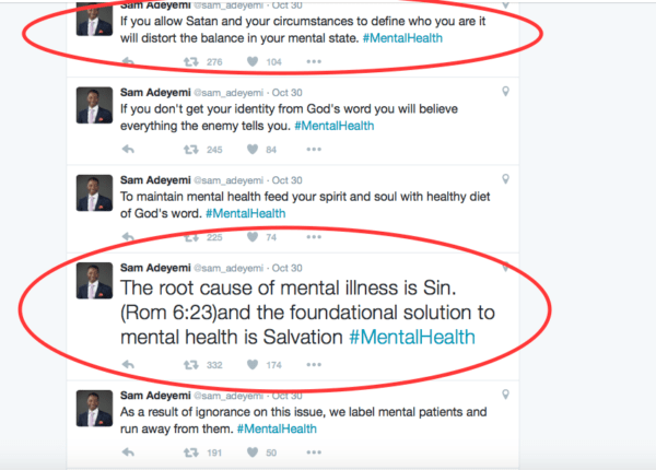 Pastor Sam Adeyemi's tweets on Mental Health Issues