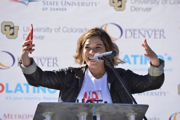 DENVER, CO - OCTOBER 26: America Ferrera reached out to latino students of Metropolitan State University, Community College of Denver and University of Colorado Auraria campus on the importance of young people voting in the elections as part of Voto Latino on October 26, 2016 in Denver, Colorado. (Photo by Thomas Cooper/Getty Images)
