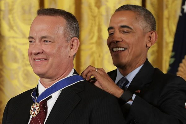 WASHINGTON, DC - NOVEMBER 22:  U.S. President Barack Obama awards the Presidential Medal of Freedom to Academy Award winner, filmmaker and social justice advocate Tom Hanks during a ceremony in the East Room of the White House November 22, 2016 in Washington, DC. Obama presented the medal to 19 living and two posthumous pioneers in science, sports, public service, human rights, politics and the arts.  (Photo by Chip Somodevilla/Getty Images)
