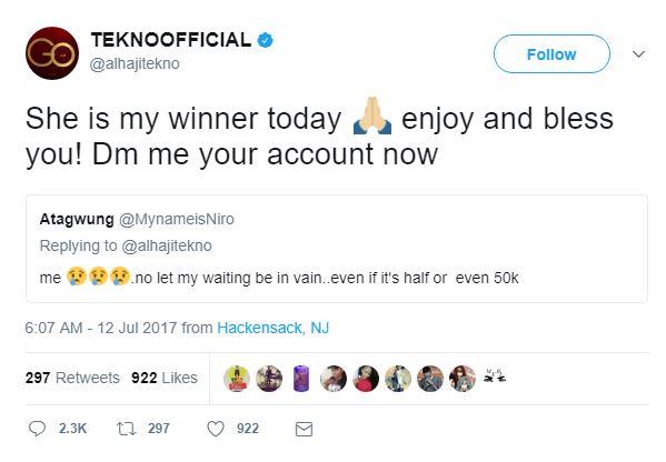 BellaNaija - Lucky Twitter User receives 500k from Tekno