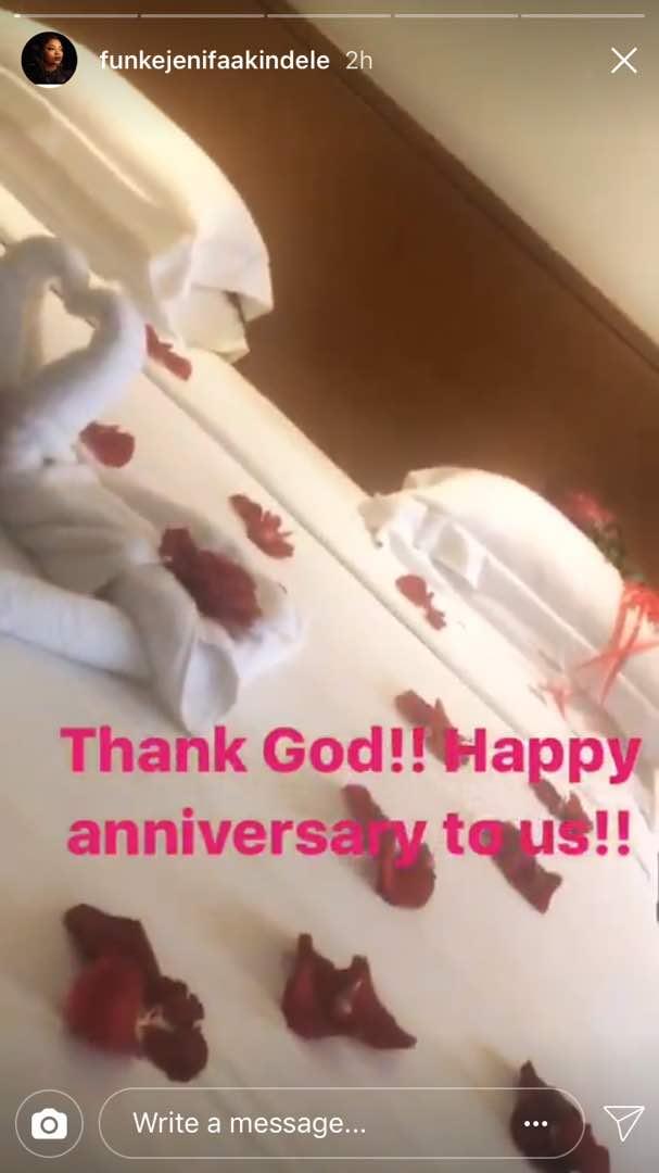Funke Akindele Bello JJC Skillz Anniversary - Funke Akindele Bello & JJC Skillz Celebrate First Wedding Anniversary