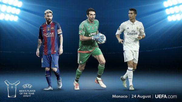 UEFA Men's Player of the Year: Buffon, Messi, Ronaldo make 2016/17 shortlist