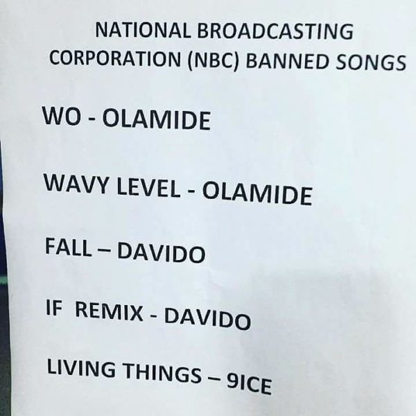 "NBC Bans Olamide's ""Wo,"" Davido's ""Fall,' 9ice's ""Living Things"" - BellaNaija"