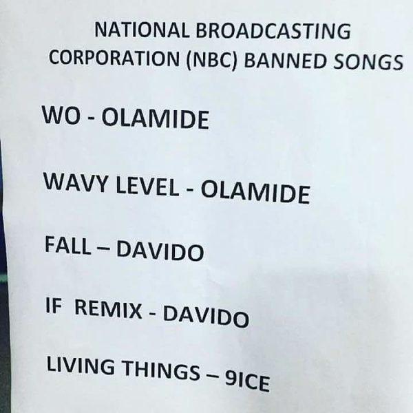 "NBC Bans Olamide's ""Wo,"" Davido's ""Fall,' 9ice's ""Living Things"" - BellaNaija"