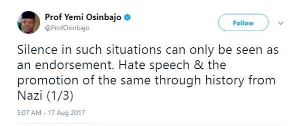 Silence is Endorsement - Osinbajo speaks on Hate Speech - BellaNaija