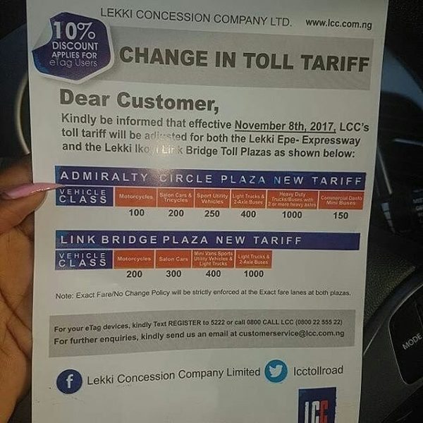 LCC to increase Toll Fares for Lekki-Epe Expressway & Lekki-Ikoyi Link Bridge - BellaNaija
