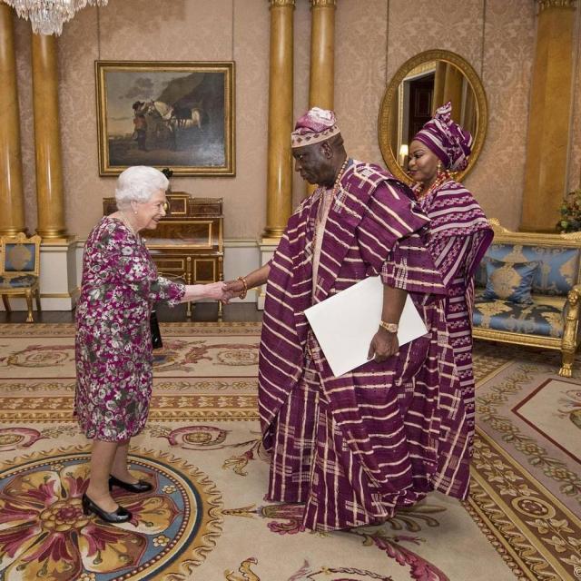 Queen Elizabeth II receives Nigeria's High Commissioner to the UK George Adesola Oguntade - BellaNaija