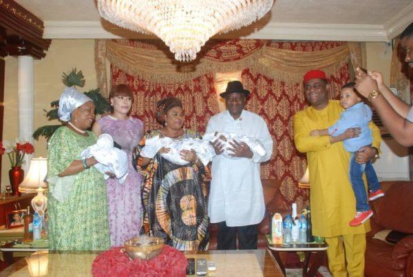 Patience & Goodluck Jonathan visit Femi Fani Kayode's new Triplets   BellaNaija