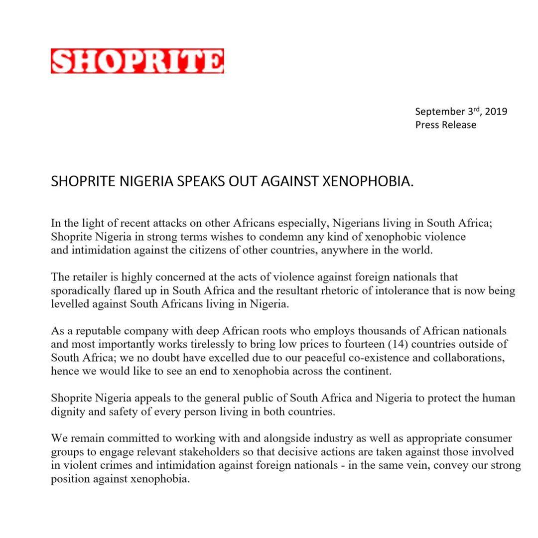 Shoprite Nigeria condemns Xenophobic Violence