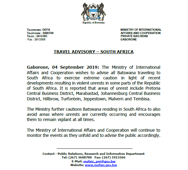 Botswana issues Travel Advisory to Citizens over Xenophobic Attacks in SA