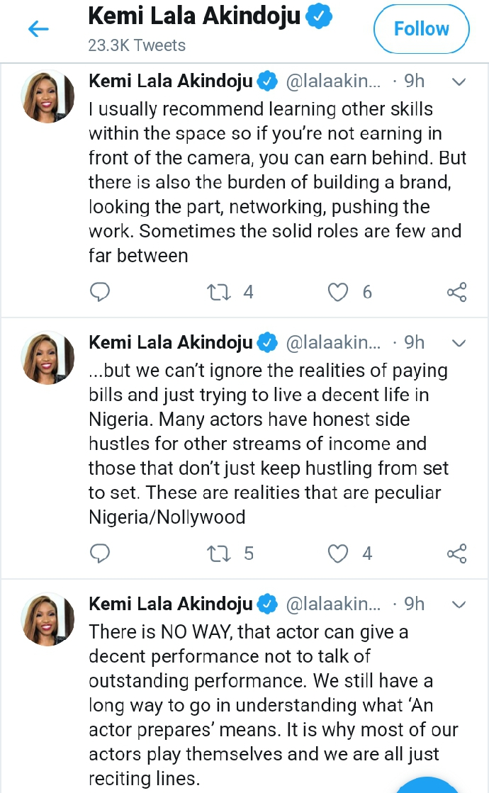 """Kemi Lala Akindoju reveals Why She Can't Take 3 Roles at Once: """"My art is still important to me"""""""