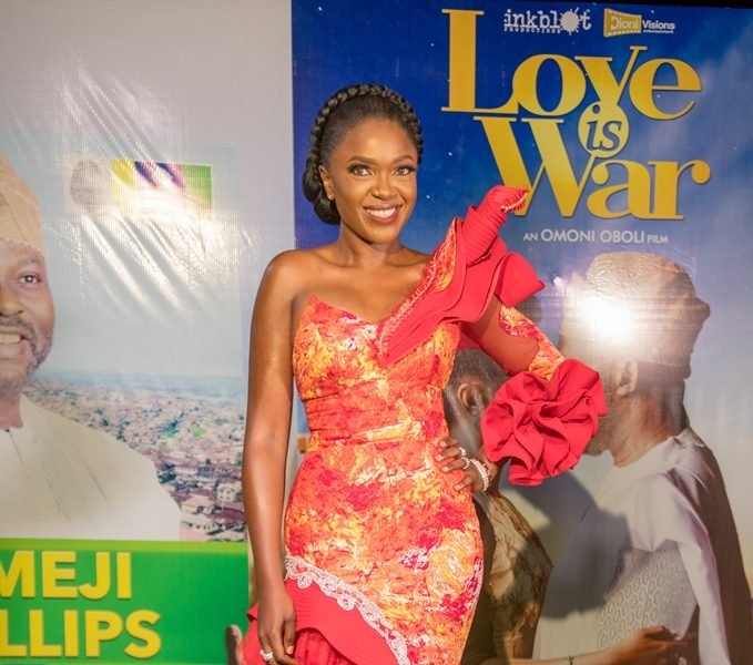 "Noticed: Sharon Ooja, Bolanle Olukanni, Richard Mofe-Damijo attend Omoni Oboli's ""Love Is War"" Premiere"