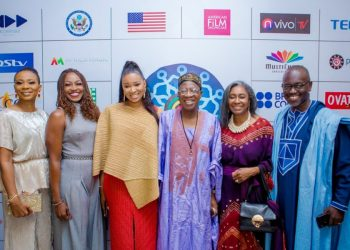 Lai Mohammed, Ini Edo, Nse Ike Etim attend the Opening Night of #AFRIFF2019