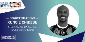 Founder of Project PINK BLUE, Runcie Chidebe announced as the Recipient of the Global Ties United States IVLP Award for Social Innovation & Change 2020