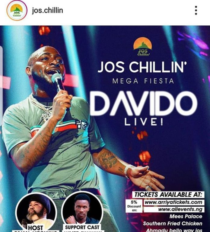 Jos Chillin', organisers of Mega Fiesta releases official Statement on Davido's Absence from the Show