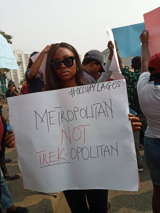 #OccupyLagos Protesters are Peacefully Passing a Message across to the State Government