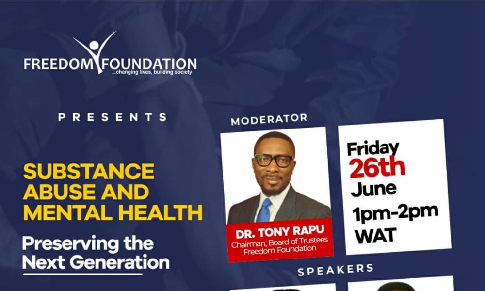 Join the Conversation on Substance Abuse and Mental Health with Tony Rapu and more   Friday, June 26