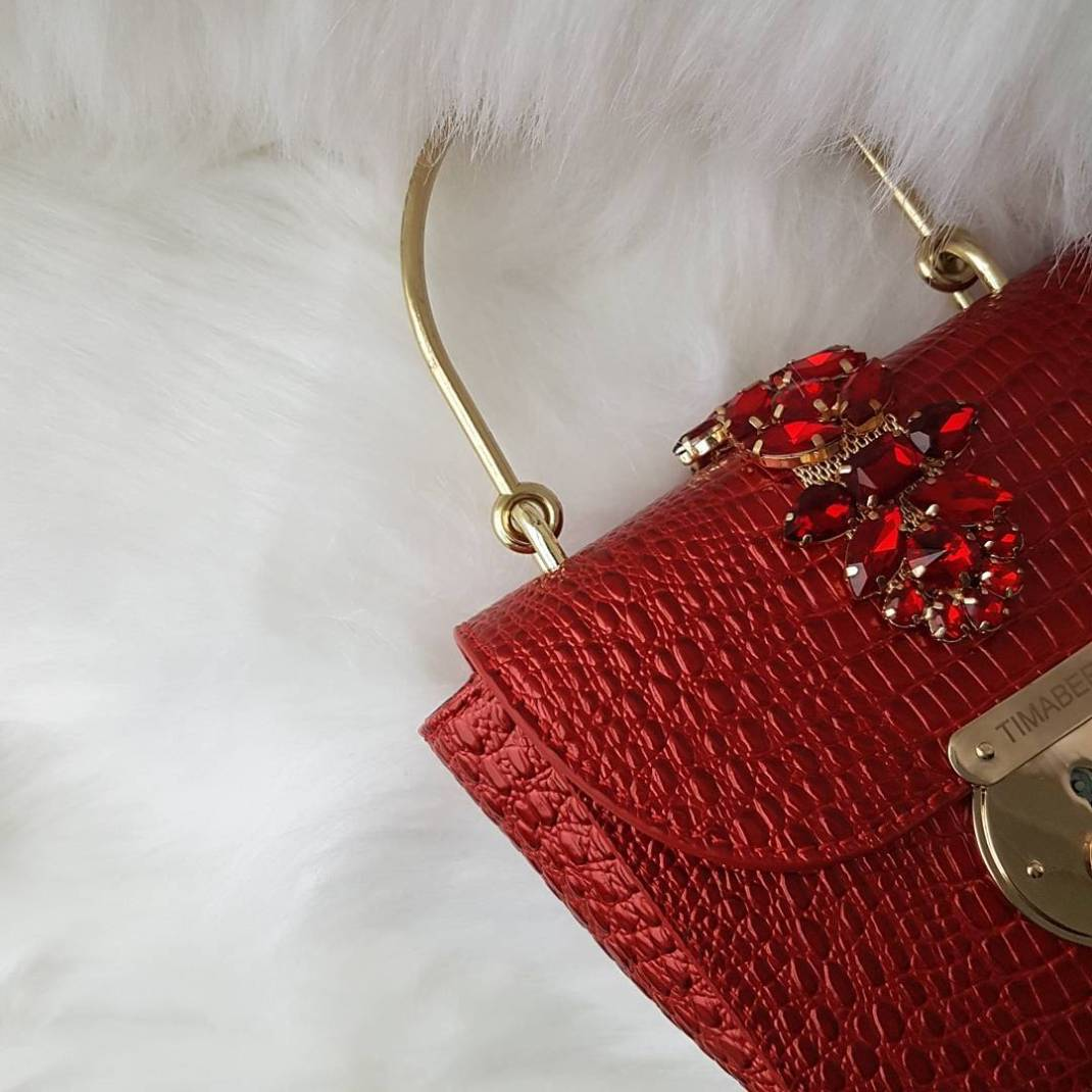 RED ACCESSORIES TIMABEE SNAKESKIN BAG NIGERIAN DESIGNER