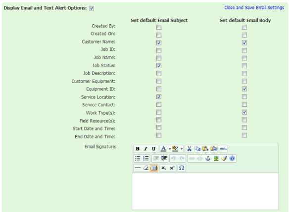 Work Order Email Settings - Bella Solutions Field Service Software