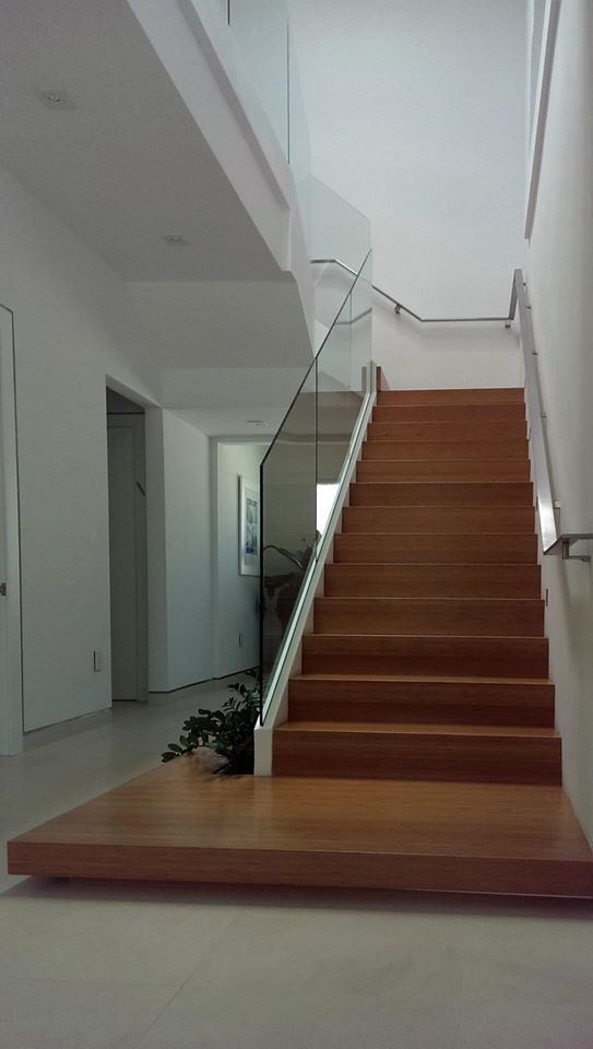 Sleek Glass Railings In Aventura Home Bella Stairs   Flat Handrail For Stairs   Code Compliant   Stainless Steel Flat Bar   Type 2   Top   Flat Iron