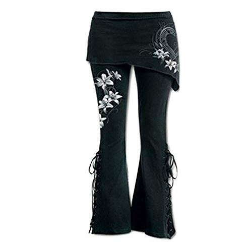 7122cd993439c Sunmoot Plus Size Women Black Embroidered Casual Bandage Punk Lace Up Bell  Bottom Wide Leg Jeans