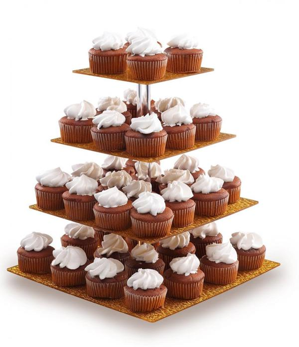 4-Tier Acrylic Glass Square Gold Cupcake Stand Cakes and Desserts Display Tower:Food Display Platter 2