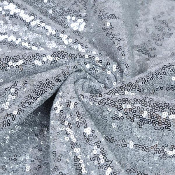 60 x 102 Sequin Rectangular Tablecloth – Silver