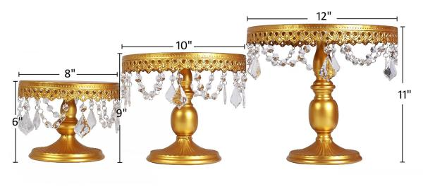 3-Set Antique Cake Stand Round Cupcake Stands Metal Dessert Display with Pendants and Beads, Gold 2