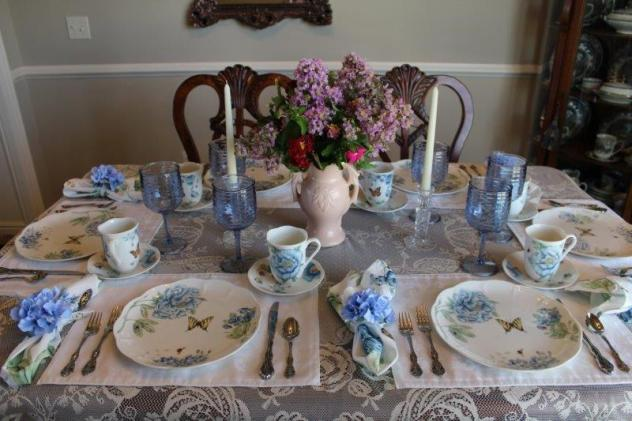 Belle Bleu Interiors Blue Butterfly Meadow Tablescape 7