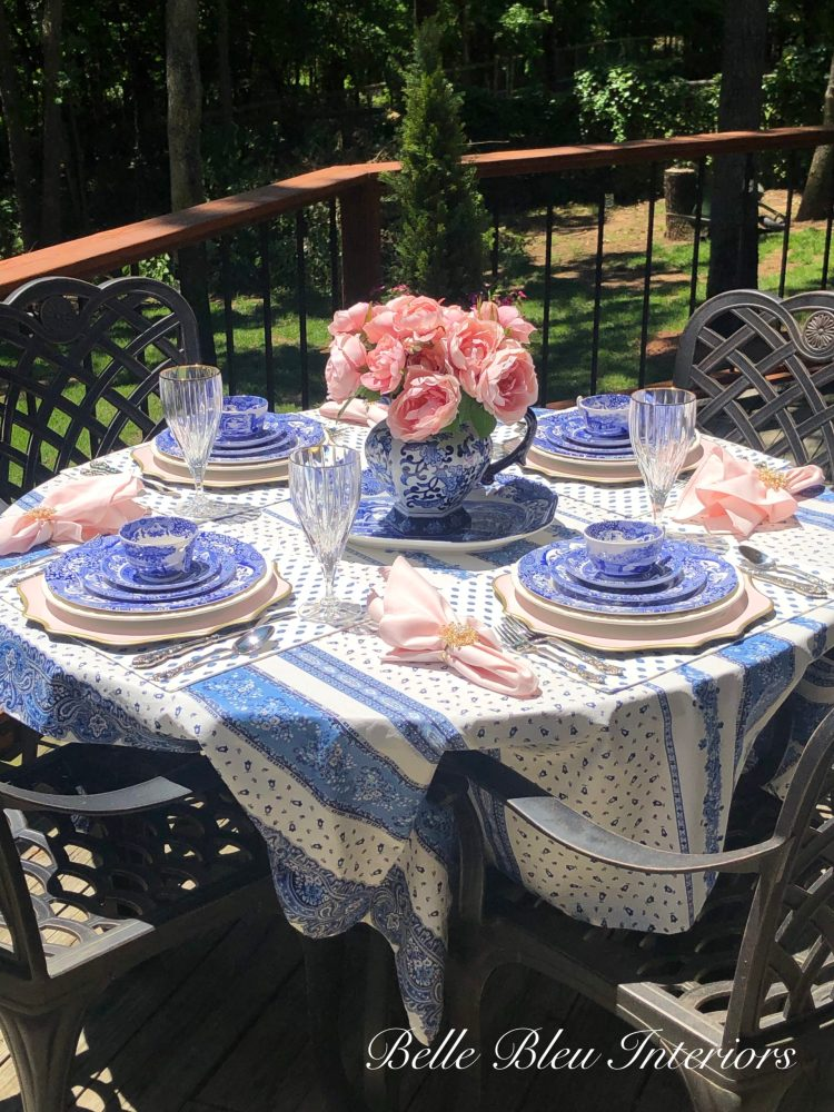 A Table Dressed in Blue and Pink