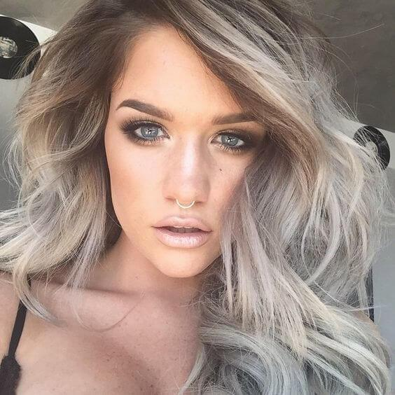 Color Skin Tan Silver Hair