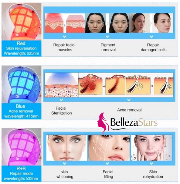 Blue Red Led light Skin Rejuvenation Therapy Device Application