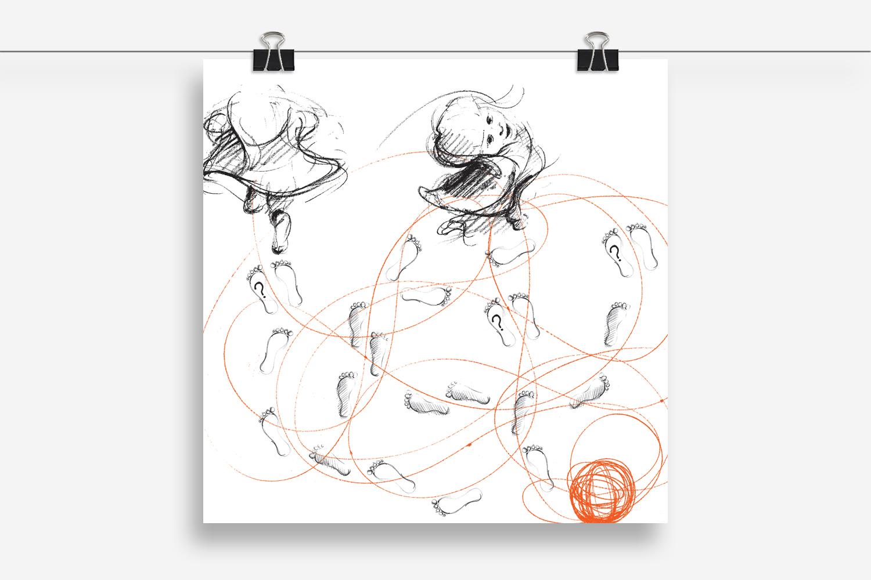 """editorial graphics: progetto di comunicazione per la copertina del libro """"I pensieri delle mamme. La cura e la salute del bambino nella percezione delle madri"""""""
