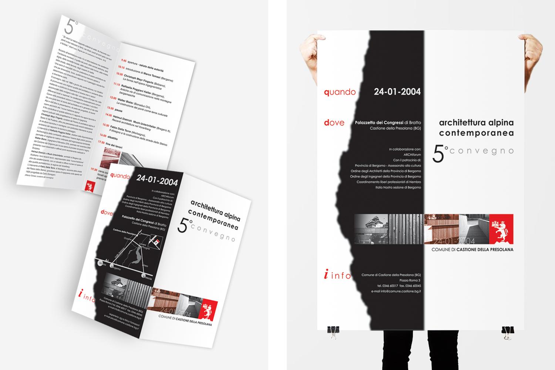 poster e flyer per Comune di Castione della Presolana: progetto di comunicazione per i convegni di Architettura Alpina